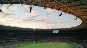 Stade, foot, gradins, écran, terrain, ciel